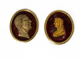 A wax Cameo Portrait Profile Of Julius Caesar And