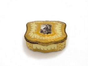 A French Serves Style Gilt Metal Mounted Yellow Ground
