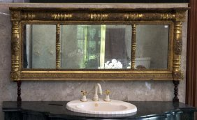 A Regency Gilt Carved Gesso Triple Plate Over Mantel