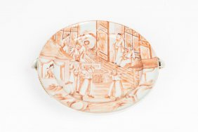 A Chinese Export Warming Dish, Decorated With Figures
