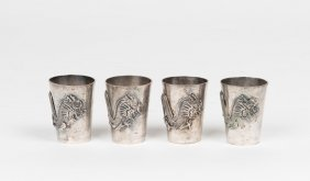 A Set Of Six Chinese Silver Beakers Embossed With