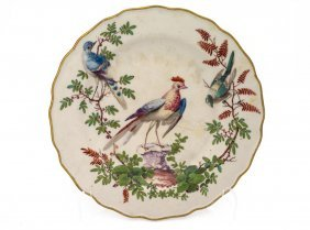 A Crown Derby Plate Decorated With Exotic Birds, Circa