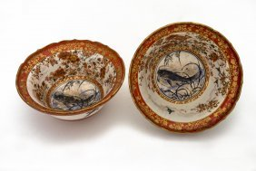 A Pair Of Japanese Kutani Bowls Decorated With Carp,