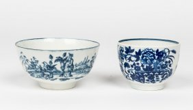 A Worcester Blue And White Bowl Decorated In The