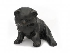 A Japanese Bronze Figure Of A Young Puppy, Meiji