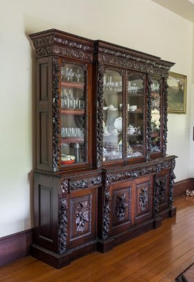 A 19th Century Walnut Side Cabinet, Profusely Carved