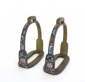 A Pair Of Chinese Cloisonn Stirrups, 19th Century