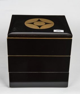 A Japanese Black Lacquer Square 4-tier Food Box