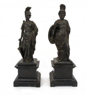 A Pair Of Bronze Figures Of Classical Roman God And
