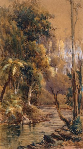 Australian School Lady Washing By A Creek