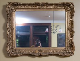 A Victorian Rectangular Carved Gilt Wood Wall Mirror,