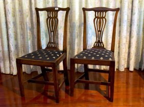 A Set Of Four Georgian Mahogany Dining Chairs