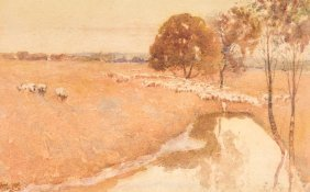 Walter Withers (1854-1914) Sheep By The Dam