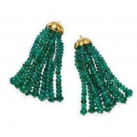 A Pair Of Emerald Earring Fittings, Each With Ten