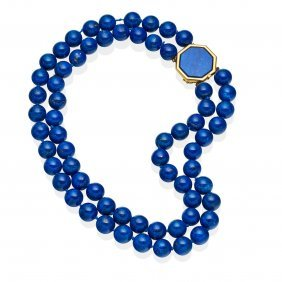 A Lapis Lazuli Necklace, The Two Strands Of 12.2mm