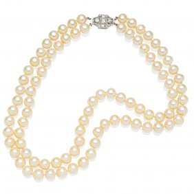 A Double Strand Cultured Pearl Necklace, Eighty-nine