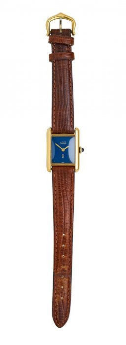A Lady's Tank Wristwatch, Must De Cartier, Circa