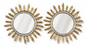 A Stylish Pair Of Silvered And Gilt Sunburst Circular