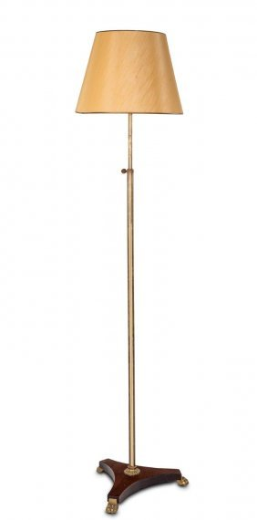 An Empire Style Gilt Bronze And Mahogany Floor Lamp