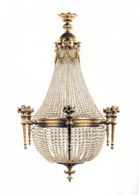 A Fine Gilt Bronze And Cut Glass Basket Chandelier