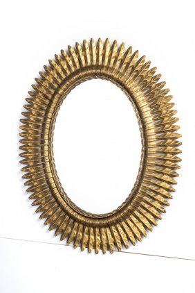 A Gilt Metal Sunburst Oval Wall Mirror, French 20th