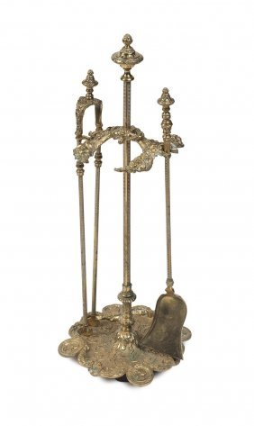 A Gilt Bronze Louis Xiv Style Fire Set, French, 19th