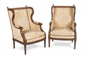 A Good Pair Of Carved Walnut Wing Armchairs, French