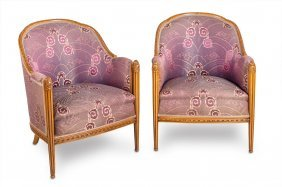 A Pair Of Art Deco Carved Walnut Armchairs French Circa