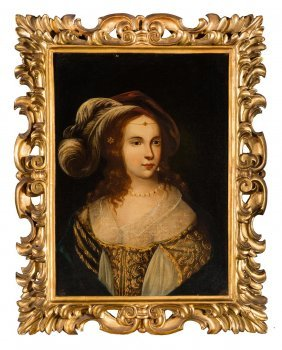 Italian School Portrait Of A Young Lady In A Plumed