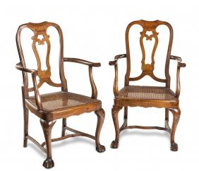 A Pair Of George Ii Style Walnut Armchairs With Caned