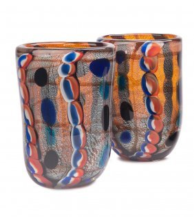 A Pair Of Multi Coloured And Silver Splashed Murano