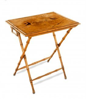 A Fine Marquetry Inlaid Olive Wood Butlers Tray Table