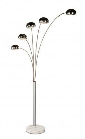 A Chrome And Carrara Marble Five Branch Arc Floor Lamp,