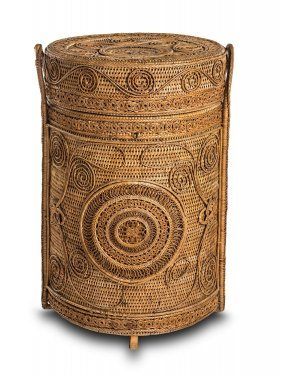 A Fine Wickerwork Circular Basket And Cover With