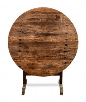 An Oak And Elm Circular Folding Vignerons Table, French