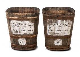 A Pair Of Painted And Coopered Oak Wine Bins French