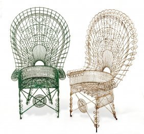 Two Elaborate Painted Wirework Chairs, One Painted