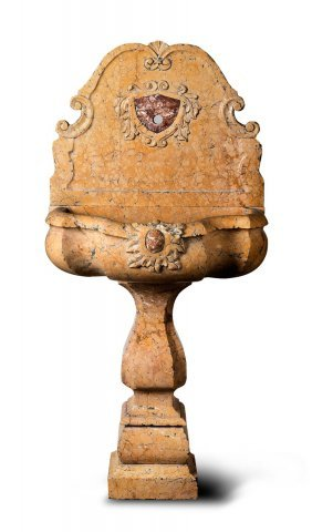 A Rare And Beautiful Carved Siena Marble Pedestal Font,