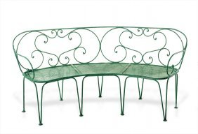A Green Painted Metal Elliptical Garden Seat French,