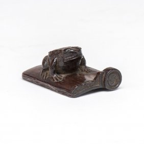 A Wooden Netsuke Of A Toad On A Roof Tile, Signed, 19th