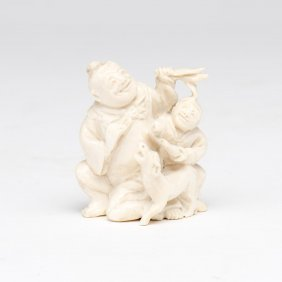 An Ivory Netsuke Of A Jolly Man With A Boy And Dog,