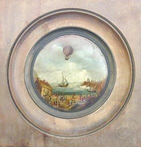 A Victorian Miniature Of A Hot-air Balloon Above A
