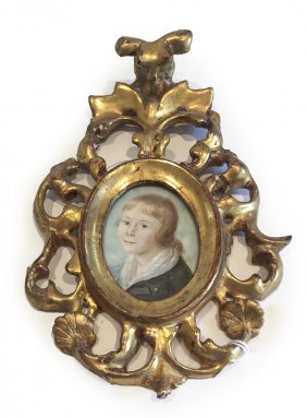 A 19th Century Miniature Of A Young Blonde Boy, In A
