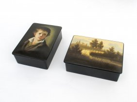 Two Hand Painted Black Lacquer Boxes, Russian, Late