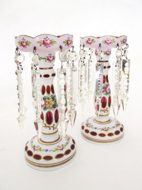 A Pair Of Bohemia Crystal Painted Lustre Vases, Late