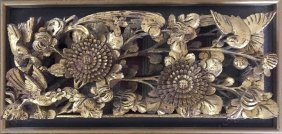 A Chinese Gilt Carved Wood Panel Of Birds, Framed