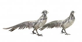 A Pair Of German Sterling Silver Pheasants