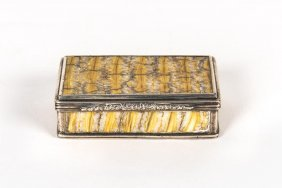 A Victorian Sterling Silver Fossilized Rock Snuff Box,