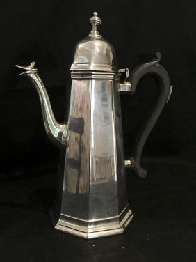 A George V Octagonal Sterling Silver Coffee Pot By