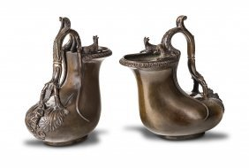 A Pair Of Italian Bronze Grand Tour Figured Rhyta, 19th